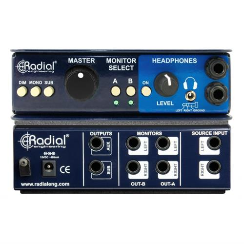 Radial MC3 - Passive monitor controller, dual output, sub control, w/ headphone amp