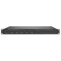 Preamp, stereo, 1 or 2 zones 6 x mic/line + 4 x line inputs 2 x stereo outputs