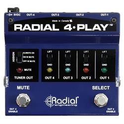 4-PLAY. DI box for multi instrumentalists with 4 balanced outputs. PSU not incl