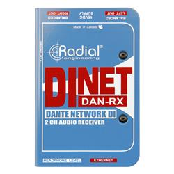 DiNet Dan RX. Dante network receiver, digital inputs and stereo anaolg outputs