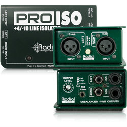 RADIAL PROISO - Passive Stereo +4dB Balanced to -10dB Converter