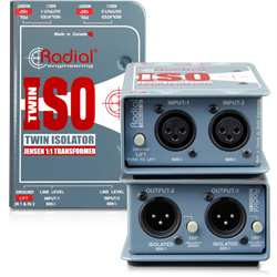 RADIAL TWIN-ISO - Line level isolator, Passive 2-channel balanced