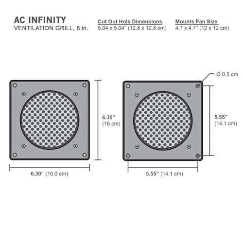 Frame / Gril / Vent White Single 6inch/160 x 160 x 3mm AC Infinity ...