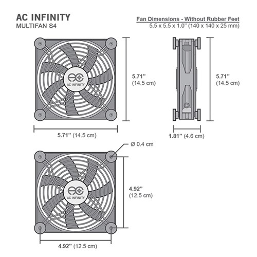 Multifan S4 Spot cooler 140mm fan 57CFM @25dBA AC Infinity