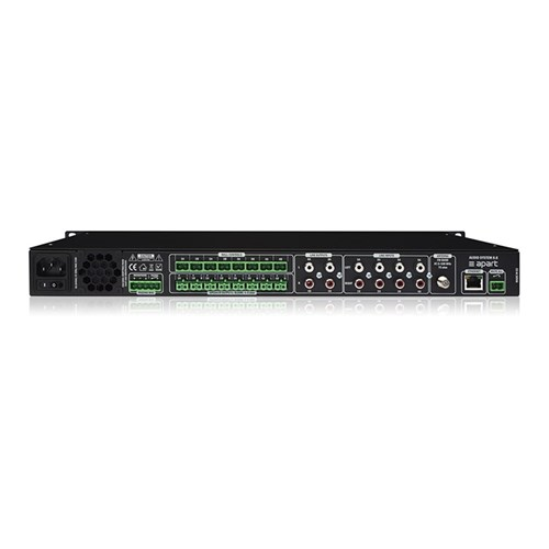Audio matrix with 8 in/8 out 4 tuners built in 8 x 30W digital amps