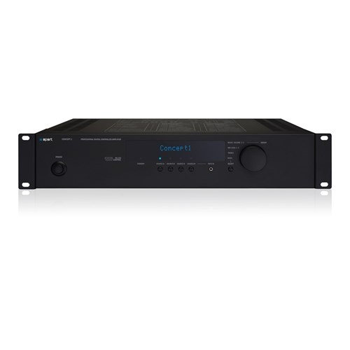 Commercial-use stereo amp 2x80W/4ohm, black, RS232, IR 4xMic/1xLine in, CONCEPT1