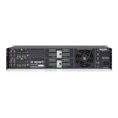 Power amp, four channel, 2RU 4 x 240W/100V, bridgeable convection cooled,REVAMP4240T
