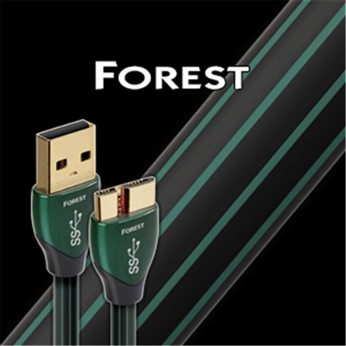 Forest 1.5m USB3.0a - USB3.0 Micro 0.5% Silver Black & Green PVC AudioQuest