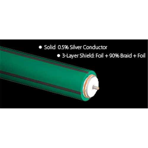 Forest HD6 Video/RF/Subwoofer Cable152m (500ft) Spool GREEN w Gray Stripes  AudioQuest