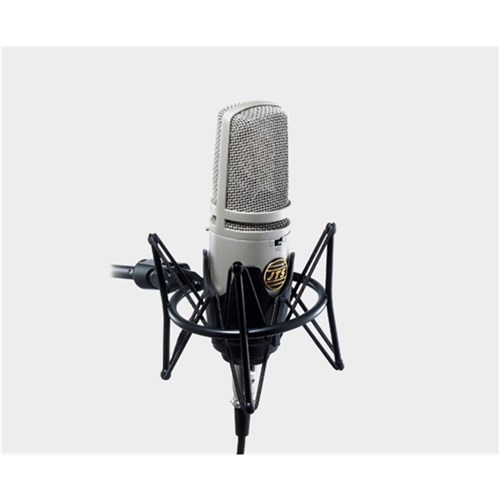 Large 2-diaphragm studio mic three polar patterns with pad, roll-off, spider