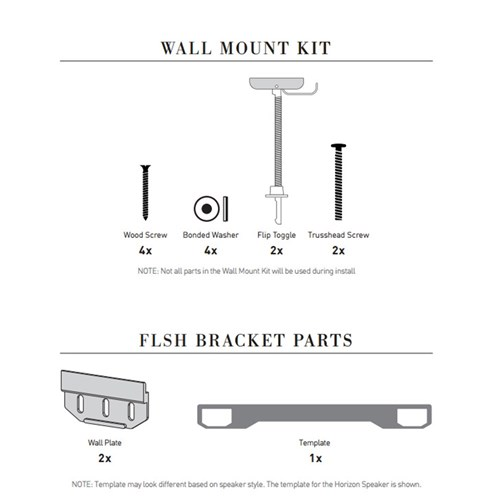 FlushMount Wall Bracket for Horizon and Profile Series Leon Speakers