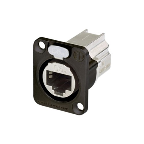 D-SIZE PANEL RECEPTACLE, SHIELDED, FEEDTHROUGH, BLACK HOUSING