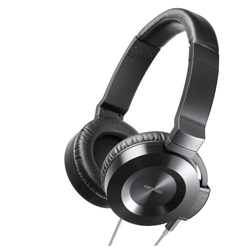 Onkyo On-Ear Headphone BLACK with SILVER Hi-fi Round Cable Onkyo